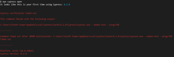 Fix Cypress verification Timed out exception